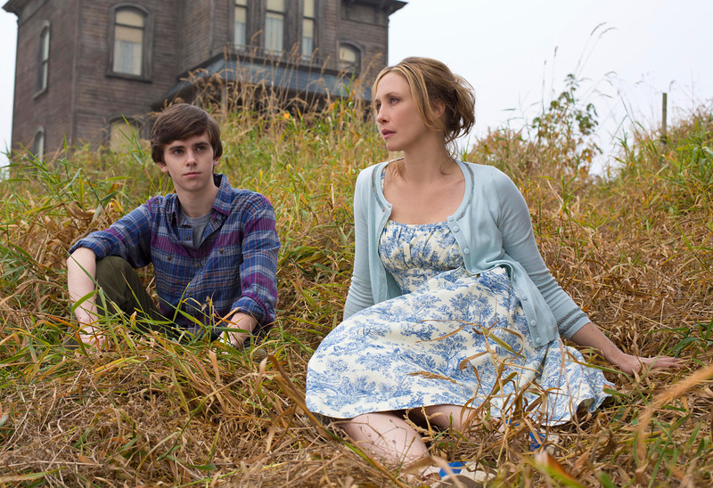 ". This undated publicity image released by A&E shows Freddie Highmore as Norman Bates, left, and Vera Farmiga as Norma Bates in a scene from A&E\'s ""Bates Motel.\"" Farmiga was nominated for an Emmy Award for best actress in a drama series on, Thursday July 18, 2013. The Academy of Television Arts & Sciences\' Emmy ceremony will be hosted by Neil Patrick Harris. It will air Sept. 22 on CBS. (AP Photo/A&E, Joe Lederer)"