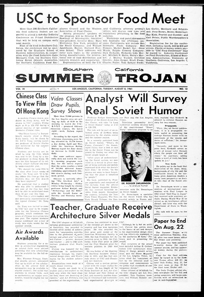 Summer Trojan, Vol. 11, No. 13, August 08, 1961