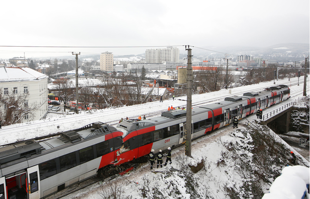 . Two trains of the line S45 stand off rail after having crashed on January 21, 2013 in Vienna, Austria AFP PHOTO / DIETER NAGLDIETER NAGL/AFP/Getty Images