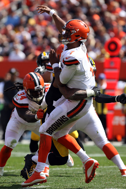 . Tim Phillis - The News-Herald Browns quarterback DeShone Kizer took some big hits from the Steelers on Sept. 10.