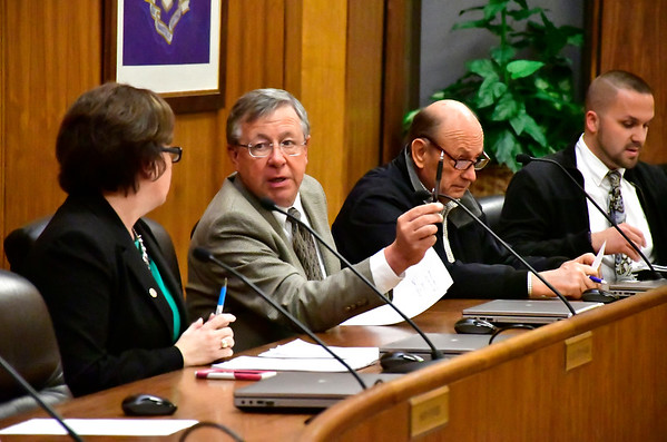 12/19/2018 Mike Orazzi | Staff Bristol City Council while announcing development along Main Street in Bristol during a special council meeting Wednesday night.