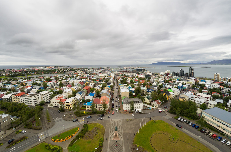 Reykjavik from the belltower of Hallgrímskirkja Cathedral
