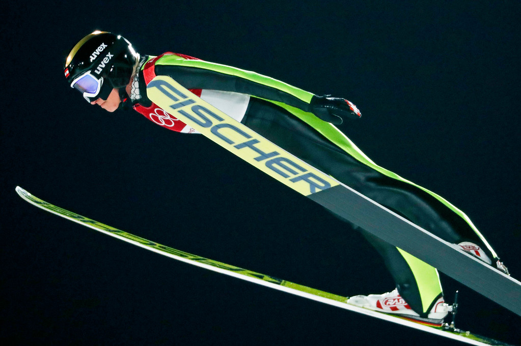 . Daniela Iraschko-Stolz, of Austria, soars through the air during the women\'s normal hill individual ski jumping competition at the 2018 Winter Olympics in Pyeongchang, South Korea, Monday, Feb. 12, 2018. (AP Photo/Matthias Schrader)