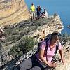 Heidi testing the cliff on the Gelada