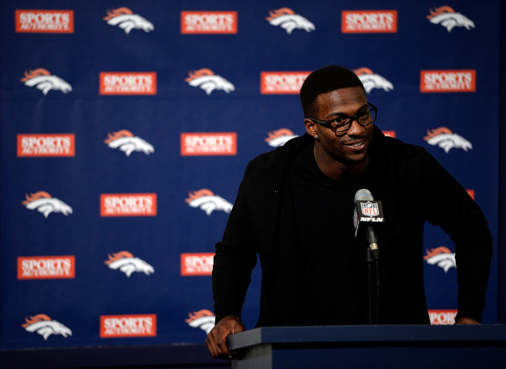. ENGLEWOOD, CO - MARCH 16: Denver Broncos and Emmanuel Sanders have agreed to terms on a three-year deal with the Broncos worth $15 million as he is introduced to the media March 16, 2014 at Dove Valley (Photo by John Leyba/The Denver Post)