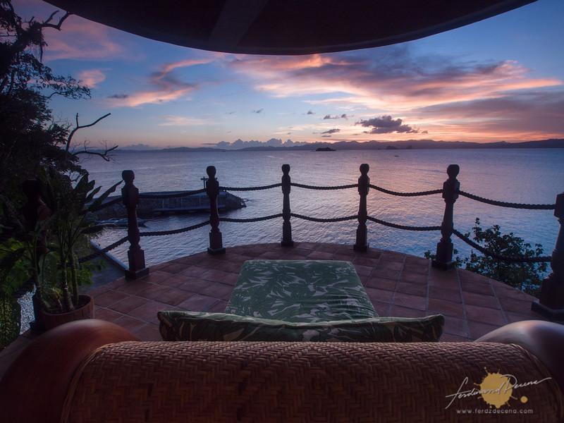 I enjoy watching the sunset from my veranda