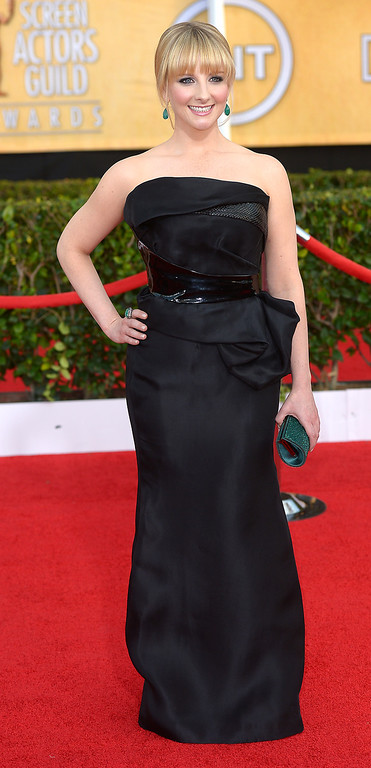 . Melissa Rauch arrives at the 20th Annual Screen Actors Guild Awards  at the Shrine Auditorium in Los Angeles, California on Saturday January 18, 2014 (Photo by Michael Owen Baker / Los Angeles Daily News)