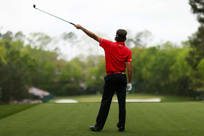 . Bubba Watson of the United States reacts after teeing off on the fourth hole during the first round of the 2013 Masters Tournament at Augusta National Golf Club on April 11, 2013 in Augusta, Georgia.  (Photo by Mike Ehrmann/Getty Images)