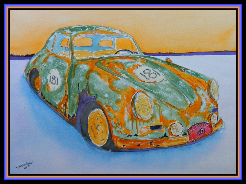 1956 Porsche 356 - Iced In, 11x15, watercolor, ink & acrylic on paper, may 23, 2018.