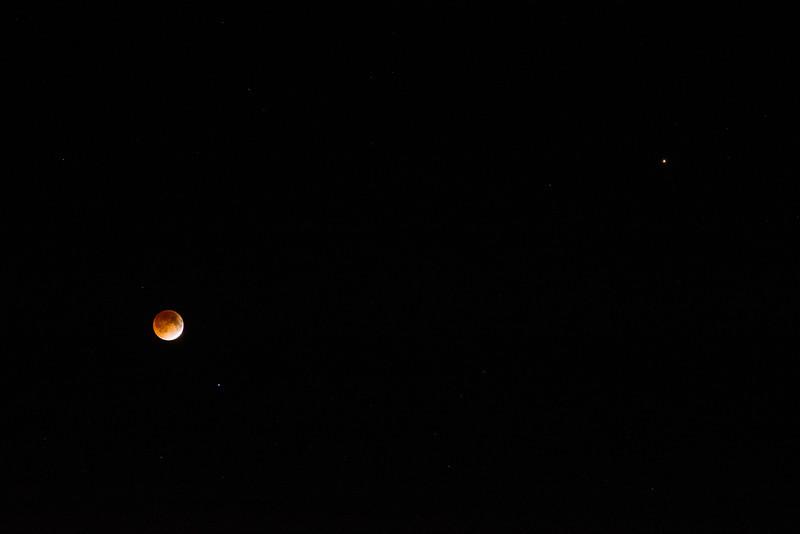 Lunar Eclipse, Spica, and Mars