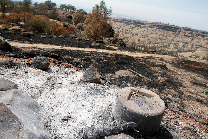The view from Peregrine Point Disc Golf Course hole No. 3 has always been incredible. After the Stoney Fire, the scorched earth before the cliff drops into the canyon in upper Bidwell Park is still amazing, but not as pretty. The charred course is seen Tuesday, Aug. 14, 2018, in Chico, California. (Dan Reidel -- Enterprise-Record)