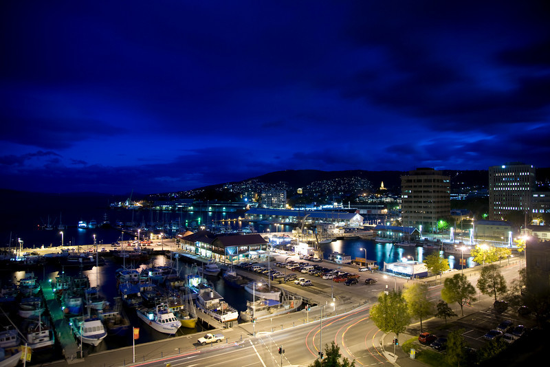 Night falls on Hobart Harbour
