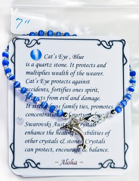 Blue Cat's Eye with Swarovski  crystal w dolphin