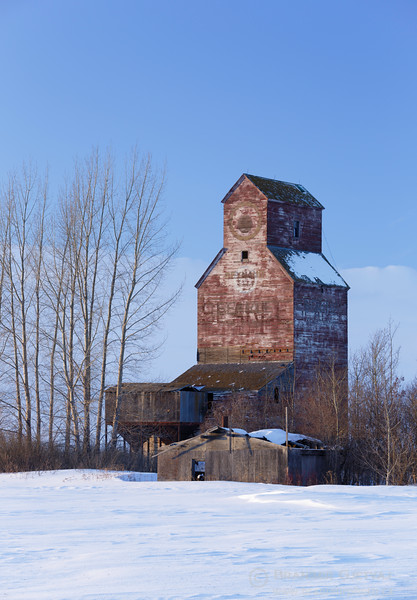 Grain elevator in winter. Reynaud, Saskatchewan.