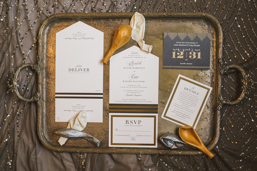 Invitation deals for Lizzie and Craig's New Year's Eve wedding in Washington DC.