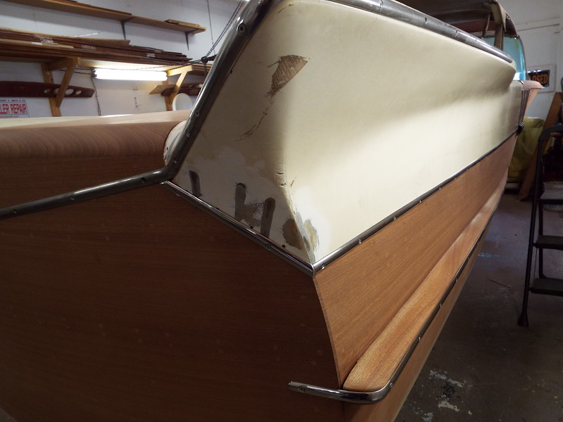 New stainless trim at the bottom of the starboard fin on the side and transom.