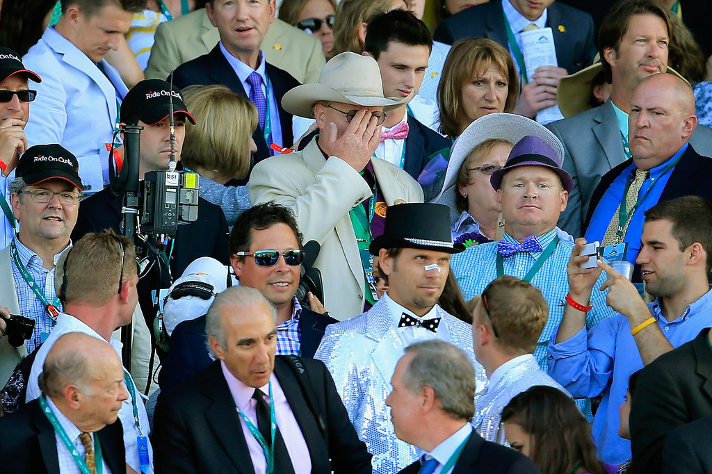. ELMONT, NY - JUNE 07:  Steve Coburn, co-owner of California Chrome reacts while watching the 146th running of the Belmont Stakes at Belmont Park on June 7, 2014 in Elmont, New York.  (Photo by Rob Carr/Getty Images)