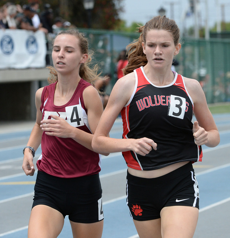 . Harvard Westlake\'s Lizzy Thomas competes in the division 3 1600 meter race during the CIF Southern Section track and final Championships at Cerritos College in Norwalk, Calif., Saturday, May 24, 2014.   (Keith Birmingham/Pasadena Star-News)
