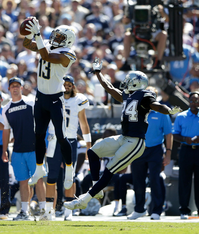 . San Diego Chargers wide receiver Keenan Allen catches a pass in front on Dallas Cowboys cornerback Morris Claiborne during the first half of an NFL football game Sunday, Sept. 29, 2013, in San Diego. (AP Photo/Gregory Bull)