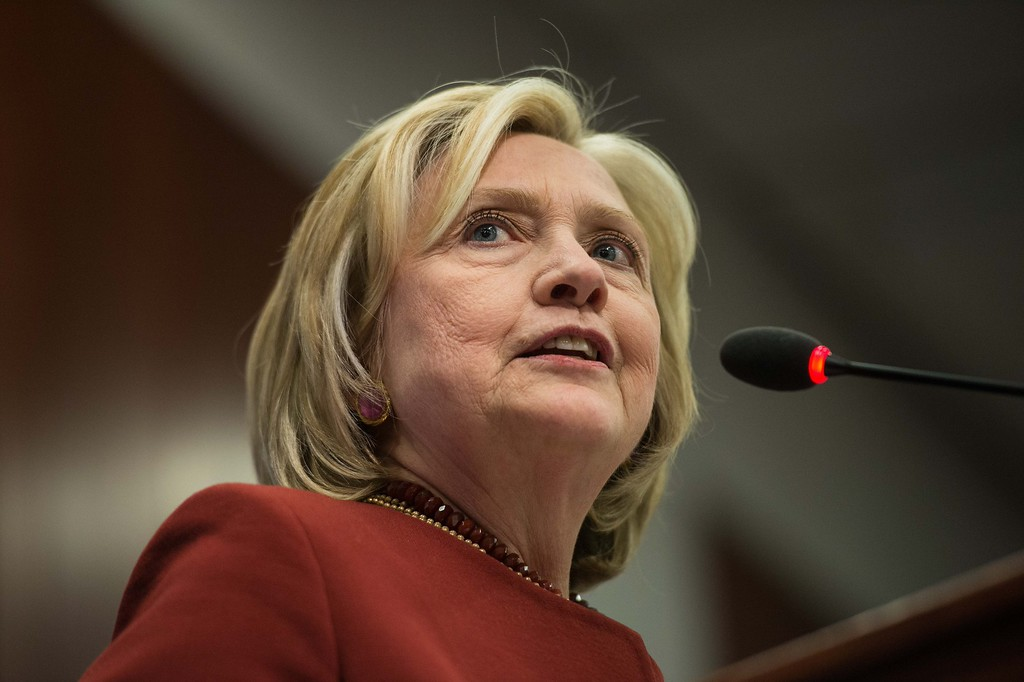 . Former US Secretary of State Hillary Clinton speaks at Syracuse Universitys S.I. Newhouse School of Public Communications presentation of the Toner Prize for Excellence in Political Reporting in Washington, DC, on March 23, 2015.           (NICHOLAS KAMM/AFP/Getty Images)