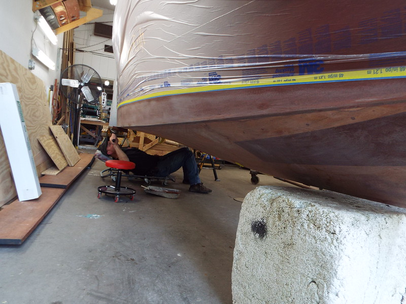 First coat of bottom paint being applied.