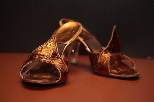 Bronze Slides with Crystal Heels