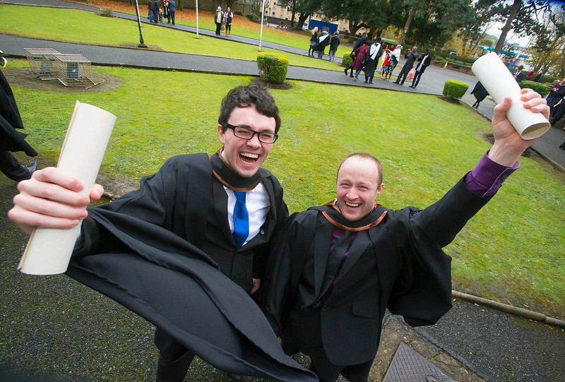 30/10/2015. Waterford Institute of Technology Conferring. Pictured is Colm Carew and Joey Connolly from Waterford city who Graduated Bachelor of Engineering (Hons) in Electronic Engineering. Picture: Patrick Browne