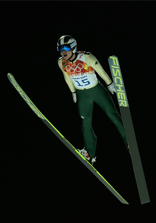 . Hyun-Ki Kim of South Korea jumps during the Men\'s Large Hill Individual Qualification on day 7 of the Sochi 2014 Winter Olympics at the RusSki Gorki Ski Jumping Center on February 14, 2014 in Sochi, Russia.  (Photo by Adam Pretty/Getty Images)