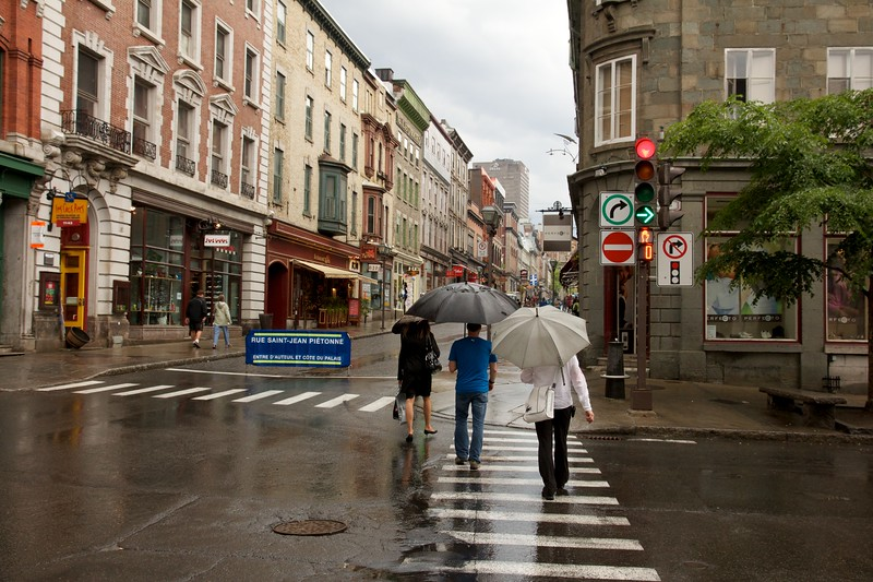 Rainy day on Rue Saint-Jean. Quebec City, Canada.