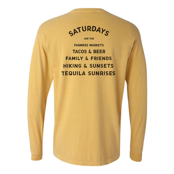 Organ Mountain Outfitters - Outdoor Apparel - Mens T-Shirt - Saturdays are for Farmers Markets Long Sleeve Tee - Mustard Back.jpg