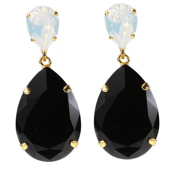 Perfect Drop Earrings / Opal + Jet