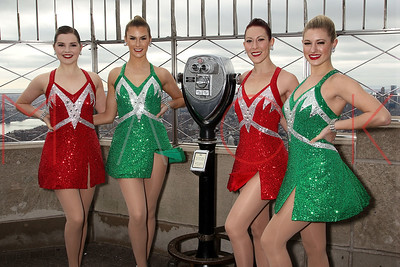 NEW YORK, NY - NOVEMBER 18:  The Rockettes Visit The Empire State Building on November 18, 2015 in New York City.