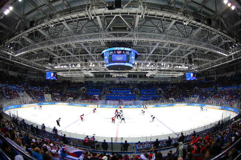 . A general view during the Men\'s Ice Hockey Quarterfinal Playoff between the United States and the Czech Republic on Day 12 of the 2014 Sochi Winter Olympics at Shayba Arena on February 19, 2014 in Sochi, Russia.  (Photo by Quinn Rooney/Getty Images)
