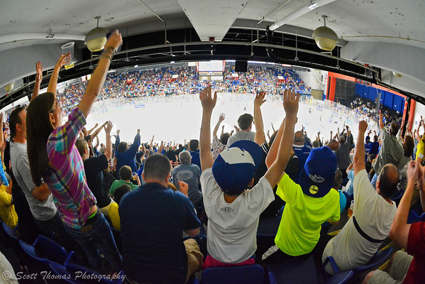 Syracuse Crunch fans react to a second period Crunch goal against the Wilkes-Barre/Scranton Penguins.