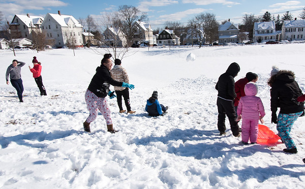 03/04/19 Wesley Bunnell | Staff A group of family and friends spent a part of Monday afternoon sledding, making snowmen and having snow ball fights at Walnut Hill Park.