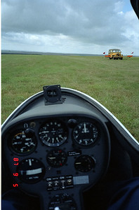 Sitting in the glider cockpit awaiting our tow.  I di a lousy job of focusing the camera!