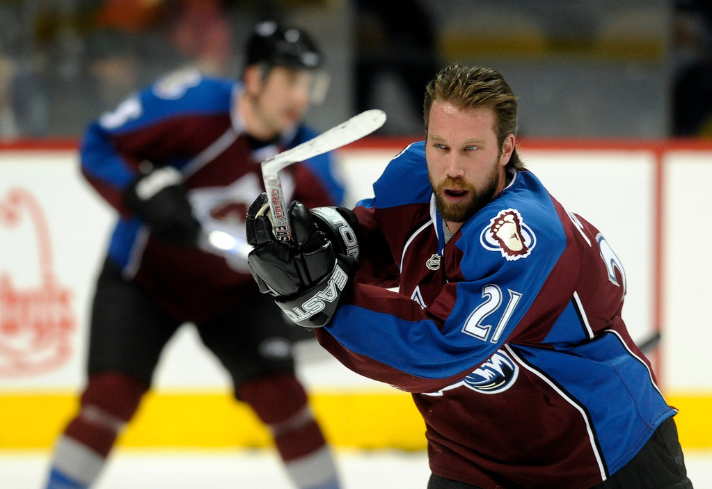. Colorado center Peter Forsberg warmed up before the game Monday night.  He has played only four games since returning to the Avs.  The Colorado Avalanche hosted the Calgary Flames Monday night, March 24, 2008 at the Pepsi Center.       Karl Gehring/The Denver Post