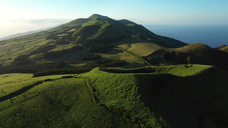 Available in 4K - Aerial video clip showing the volcanic mountains of the San Jorge Island in the Azores, near pico de la Esperanza