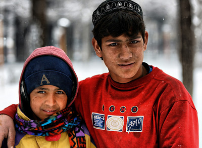Afghanistan Kabul Street Children in Winter