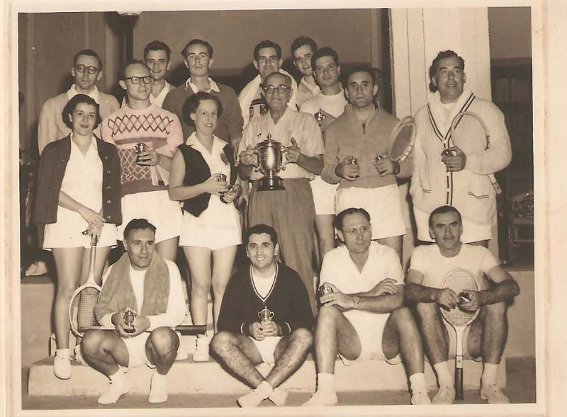 1956/57 Santos David, sra. eng. Arruda, Pedroso Neves, Sotta,  Rosendo,  Laranjo, Humberto Sousa, e Xico Paulos,