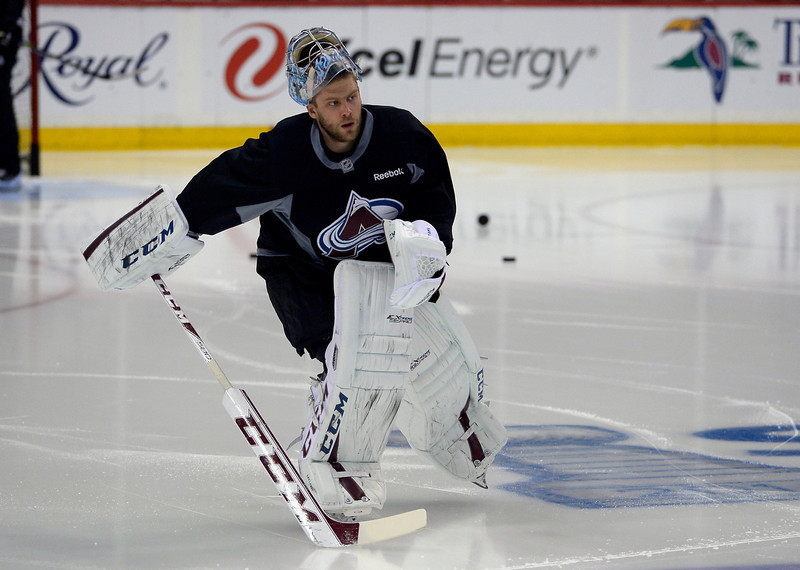 . Colorado Avalanche goalie Semyon Varlamov (1) hits the ice for practice April 23, 2014 at Xcel Energy Center. (Photo by John Leyba/The Denver Post)