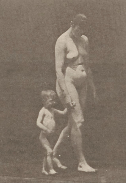 Nude woman walking with a child hand in hand