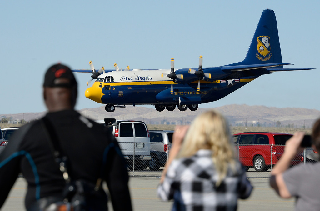 ". March 19,2014. Lancaster CA. The US Navy Blue Angels ""Fat Albert\"" C-130 transport plane does some fancy maneuvers at Fox field Wednesday afternoon. The Los Angels County air show with the Blue Angels will happen this Friday and Saturday at Fox Field.  Photo by Gene Blevins/LA DailyNews"