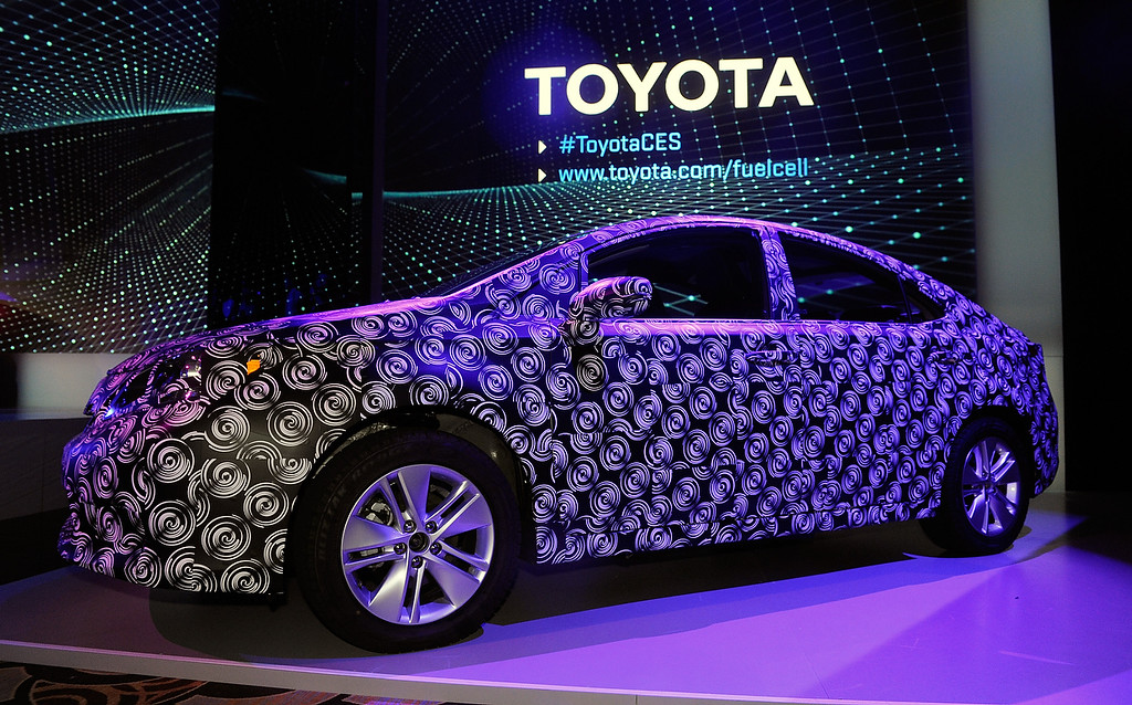 ". A ""frankenstein vehicle\"" is displayed during a Toyota press event at the Mandalay Bay Convention Center for the 2014 International CES on January 6, 2014 in Las Vegas, Nevada. (David Becker/Getty Images)"