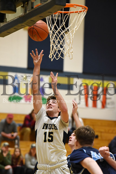 Harold Aughton/Butler Eagle: Knoch's Jared Schrecengost goes in for an easy lay up in the second quarter against Burrell Saturday, January 18, 2020.