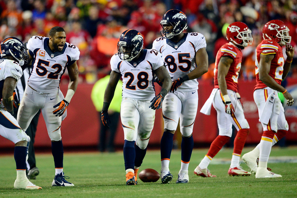. Montee Ball (28) of the Denver Broncos celebrates after making a long run against the Kansas City Chiefs during the second half of the Broncos\' 35-28 win at Arrowhead Stadium.  (Photo by AAron Ontiveroz/The Denver Post)