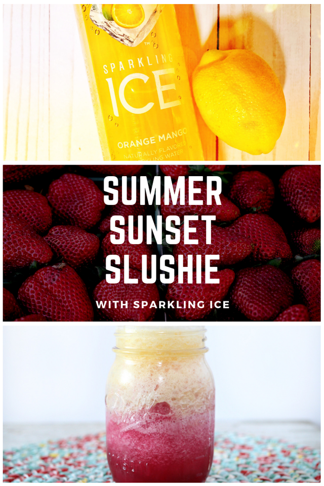 It's time to say goodbye to summer, and hello to #backtoschool, with this Summer Sunset Slush Drink #recipe #ad #SchoolsInSession #SparklingIceLife #PopFizz