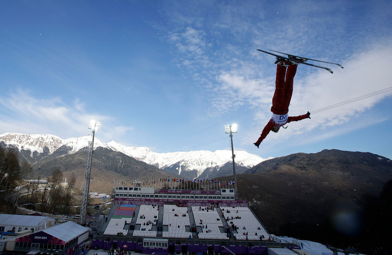 . Russia\'s Alexandra Orlova jumps during women\'s freestyle skiing aerials training at the Rosa Khutor Extreme Park, at the 2014 Winter Olympics, Friday, Feb. 14, 2014, in Krasnaya Polyana, Russia. (AP Photo/Greg Baker)