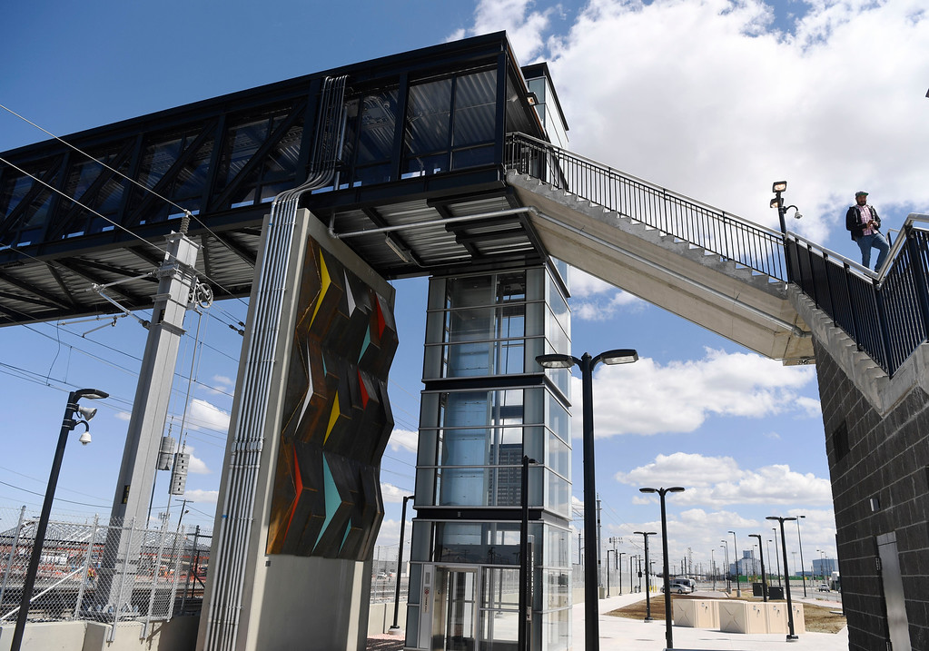 . DENVER, CO - May 03: Artist Kelton Osborn\'s �Conflux Redox,� underneath a pedestrian bridge at the RTD University of Colorado A Line station at 38th and Blake, part of the RTD\'s ART-N-TRANSIT program May 03, 2016. (Photo by Andy Cross/The Denver Post)