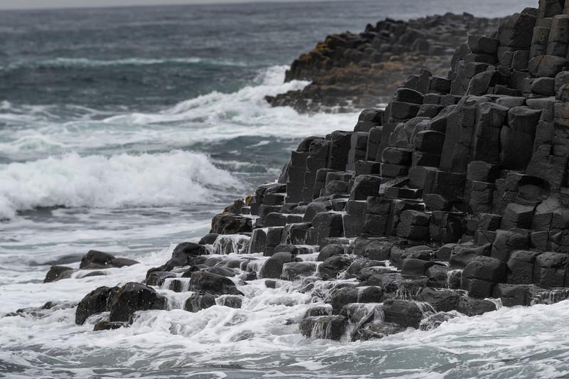 Surf breaking on the coast, Giant's Causeway, County Antrim, Northern Ireland, Ireland